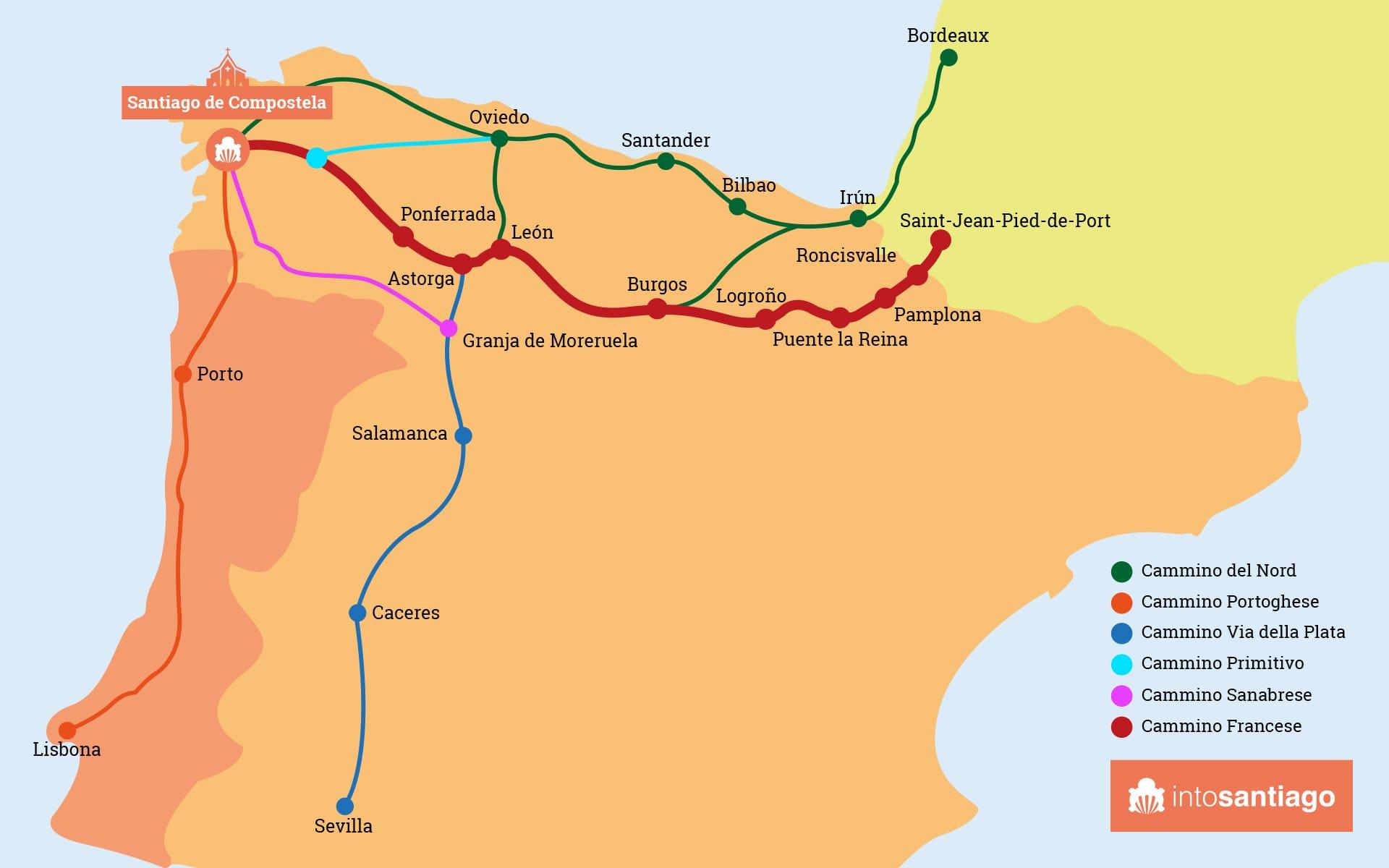 Cartina Spagna nord